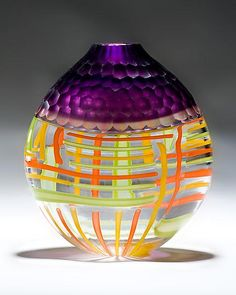 """Purple Battuto Vase""  Art Glass Vessel  Created by Chris McCarthy"