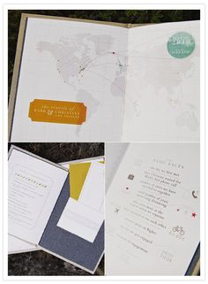 """Love the bottom right hand corner idea of a """"Fact Sheet"""" about the couple. It'd be cool to include in the wedding program if not a religious ceremony or possibly included as a Save The Date Destination Wedding Invitations, Wedding Programs, Wedding Stationery, Party Invitations, Invites, Map Wedding, Wedding Summer, Romantic Weddings, Real Weddings"""