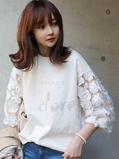 七分袖 パッチワーク ホワイト レディース 着回しTシャツ 12809291 - T-シャツ - Doresuwe.Com