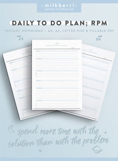 Daily Planner Sheet RPM. Results Purpose Action. Tony