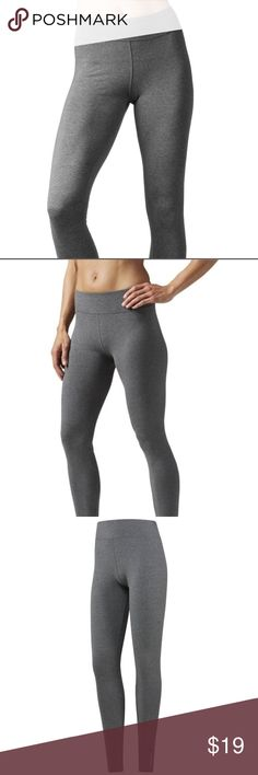 Reebok Women's long training leggings Material 88% cotton, 12% polyester. Suitable training or leisure wear. Best for: Training and everyday wear Fit: Fitted - wears tight against the body and moves with you during exercise Speedwick technology wicks sweat away from the body to help you stay cool and dry Reebok Pants Leggings