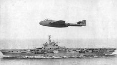 "De Havilland DH.100 Sea Vampire Mk.10 LZ551/G, flown by Lieutenant-Commander (Temporary) Eric Melrose (""Winkle"") Brown, MBE, DSC, Royal Navy Volunteer Reserve, left profile, with light fleet aircraft carrier HMS Ocean (R68), 3 December 1945."