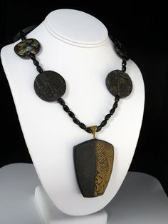 Handmade Textured Black and Gold Polymer Clay Necklace