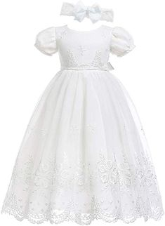 Yiding Toddler Baby Girls Dress for Party Wedding Lace Gown with Headband and Shoes
