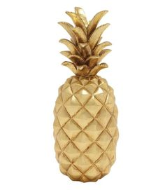 Our gold decorative pineapple brings a sophisticated touch to your tropical theme decor. The gold foil finish and large size are stunning. Pineapple decor items are a must have accent to display on yo