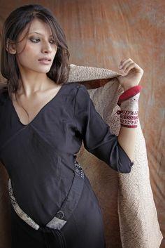 Cantartica dress, silk with belt. Darius coat, silk handprint cotton.