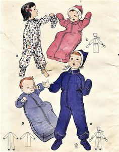 1950s Toddlers Nightwear Booties Bunting and Snowsuit