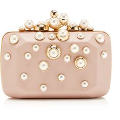 Elie Saab Small Pearl Embellished Clutch (175.005 RUB) ❤ liked on Polyvore featuring bags, handbags, clutches, purses, elie saab, embellished purses, pink clutches, pearl purse and chain handle handbags