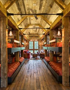 Bunk Room. Rustic Bunk room with plenty of space for family and guests. #BunkRoom #BunkRoomDesign