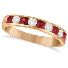 Allurez Channel Set Ruby & Diamond Ring Band in 14k Rose Gold 0.79ctw ($990) ❤ liked on Polyvore