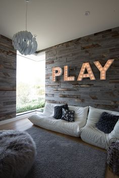 Gray Plank Playroom Wall with Play Marquee Lights - Contemporary - Girl's Room Kids Wall Decor, Game Room Decor, Living Room Decor, Bedroom Decor, Teen Hangout Room, Teen Lounge Rooms, Teen Game Rooms, Teen Playroom, Modern Playroom