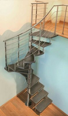 Very Nice Industrial look for a small footprint staircase!