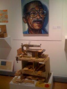 Portrait and his saw. Folk Artist Marvin Finn (1913-2007), one man show, Louisville, KY around 2003