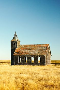 The abandoned Rocky Valley Lutheran Church, the last building still standing what was Dooley, Montana.