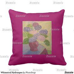 Whimsical Hydrangea Throw Pillow