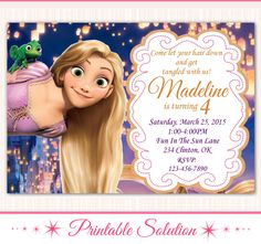 Tangled Invitation - Tangled Birthday - Tangled Party - Disney Tangled by PrintableSolution on Etsy https://www.etsy.com/listing/241591039/tangled-invitation-tangled-birthday