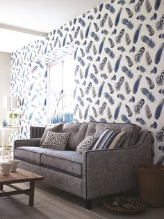 Beautiful feather wallpaper by Thibaut.