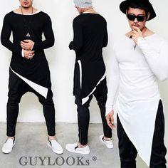 Details about Avant-garde Mod Mens Unbalance Diagonal Cut Tr. Mens Kurta Designs, Latest Mens Fashion, Urban Fashion, Fashion Edgy, Fashion Photo, Men Fashion, Style Fashion, Fashion Trends, Mens Clothing Trends