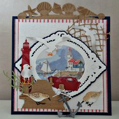 Marianne Design Cards, Nautical Cards, Beach Cards, Fishing Boats, Cardmaking, Advent Calendar, Diy And Crafts, Vacation, Holiday Decor