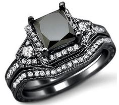 2.0ct Black Princess Cut Diamond Engagement Ring Bridal Set 14k Black Gold @}-,-