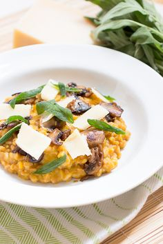 Butternut Squash Farrotto with Sautéed Mushrooms and Fried Sage