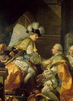 Detail of Louis XVI receiving the homage of the Chevaliers de l'ordre du Saint-Esprit on June 13th, 1775, after his coronation by Gabr...
