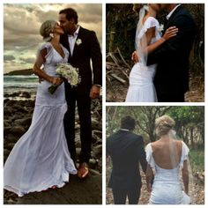 Striking low back lace wedding dress with frilly sleeves and fitted lace body perfect for a beach wedding