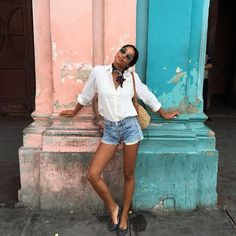 31 Flawless Outfits To Copy This July #refinery29 http://www.refinery29.com/july-outfit-of-the-day-ideas#slide-22 No article of clothing screams summer more than a classic pair of cutoffs. Elevate your quintessential festival-wear jorts by pairing them with a white button-up and a neck scarf, one of our favorite (and one of the easiest!) trends of the season. Yes, looking good is that simple.