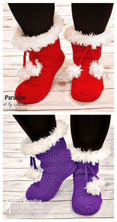 Easy Crochet Slippers, Crochet Slipper Boots, Crochet Slipper Pattern, Crochet Baby Booties, Crochet Santa, Christmas Crochet Patterns, Free Crochet, Crochet Winter, Holiday Crochet