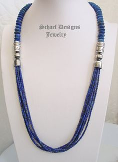 Schaef Designs cobalt blue lapis lazuli and sterling silver tube bead multi strand long necklace