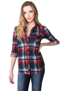 Plaid Shirt with Pockets and Roll-up Sleeves