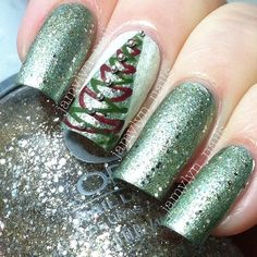 christmas by jamylyn_nails Christmas Tree Nails, Christmas Nail Art Designs, Holiday Nail Art, Xmas Trees, Christmas Ideas, Fancy Nails, Cute Nails, Pretty Nails, New Year's Nails
