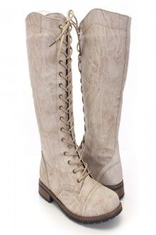 Beige Faux Leather Lace Up Mid Calf Riding Boots