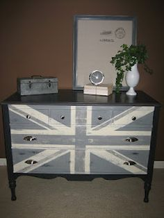 Graphite, Paris Grey mixed with Graphite, and Old White Chalk Paint® White Chalk Paint, Annie Sloan Chalk Paint, Union Jack Dresser, Vintage Furniture, Painted Furniture, Real Milk Paint, Mid Century Modern Dresser, Wood Projects, Sweet Home