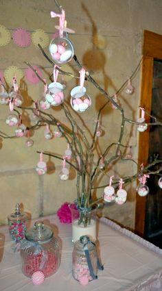 Le baptême d'Elise sur le thème des petits pois en rose, argent et beige