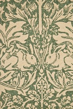 Brer Rabbit wallpaper design by William Morris. Floral and animal print in green and cream