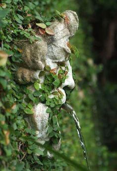 Masculine wall fountain peeking through the greenery in an outdoor garden space. Stone Fountains, Garden Fountains, Garden Statues, Wall Fountains, Outdoor Fountains, Garden Ponds, Koi Ponds, Garden Sculptures, Garden Water