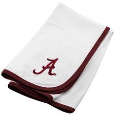 Alabama Crimson Tide White Soft Cotton Baby Blanket
