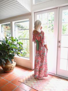 Vintage maxi dress floral 1960's polyester knit bell sleeves: small, medium by BopandAwe on Etsy