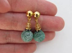 Green Mat Weathering Agate Gold Plated Earrings by RubiesAndBees