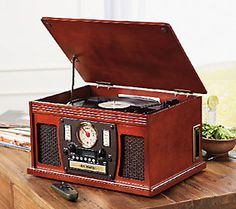 Aviator Recordable 8in1 Wooden Music Center with Bluetooth - E226909 — QVC.com
