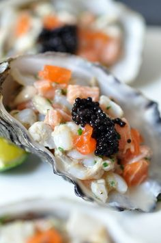 Oyster and Scallop Tartare with Ginger Dressing via Trissalicious