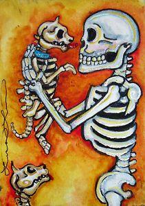 Lisa Luree Art Original Day of The Dead Puppy Picking Dia de Los Muertos ACEO | eBay