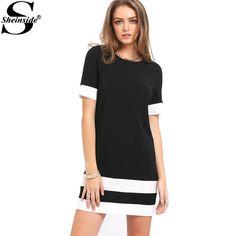 Sheinside Ladies Color Block Casual Mini Dresses New Summer Style Black White Patchwork Crew Neck Short Sleeve Shift Dress