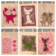 Cotton Grocery Bags with Stencil Cats