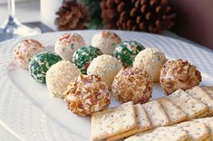 Mini cheese balls. So everyone isn't struggling with trying to get a piece of the usual big cheese balls. Perfect idea! Truffles Recipe, Holiday Appetizers, Roasted Red Peppers, Cheese Ball, Green Onions, Crackers, Allrecipes, Spring Bulbs, Biscuit