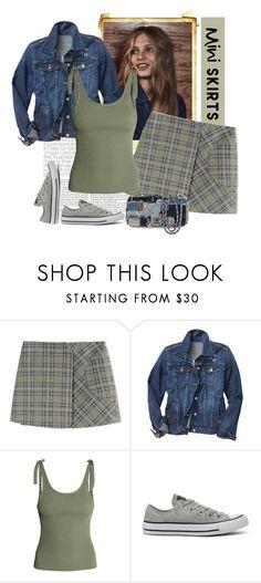 """Victoria Beckham Denim Green Plaid Mini Skirt"" by bodangela ❤ liked on Polyvore featuring dVb Victoria Beckham, Gap, Converse and Chanel"