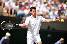 Novak Djokovic hits a forehand during his Quarter-final match - Jon Buckle/AELTC