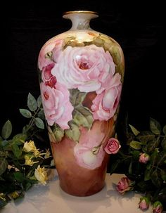 """Beautiful, Tall 13+"""" J.P.L. Limoges Vase with Handpainted Pink, Mauve & White Roses"""