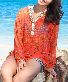 Look what I found on #zulily! Coral Abstract Tunic by La Moda Clothing #zulilyfinds